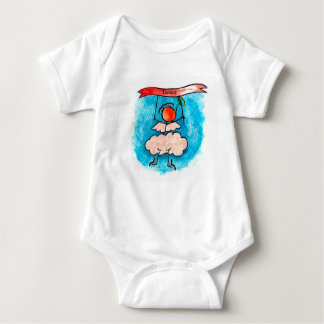 Angel hanging on a banner baby bodysuit