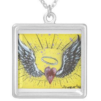 Angel Heart Square Pendant Necklace