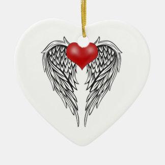 Angel heart tattoo ceramic ornament