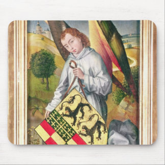 Angel holding a shield with  two leopards mouse pad