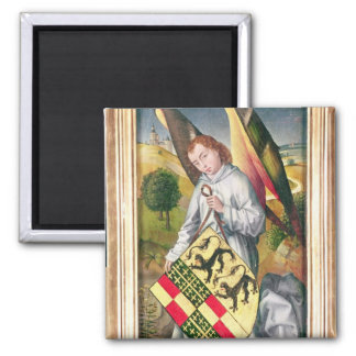 Angel holding a shield with  two leopards square magnet