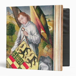 Angel holding a shield with  two leopards vinyl binders