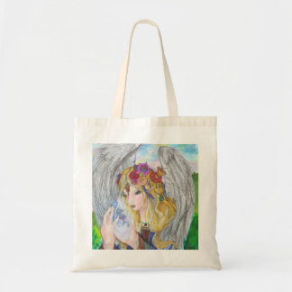 Angel holding a unicorn tote bag