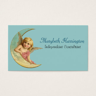 Angel in a crescent moon vintage image business card