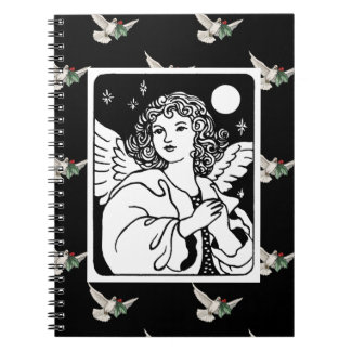 Angel in Black and White With Doves Notebooks