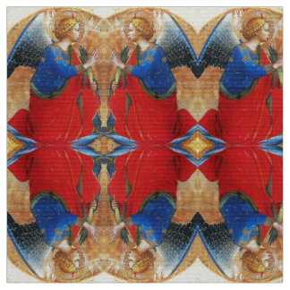 ANGEL IN GOLD RED AND BLUE FABRIC