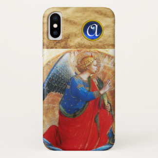 ANGEL IN GOLD RED AND BLUE MONOGRAM iPhone X CASE