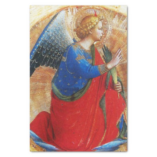 ANGEL IN GOLD RED AND BLUE TISSUE PAPER