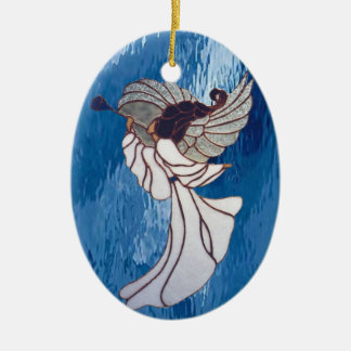 Angel in Stained Glass Ceramic Ornament
