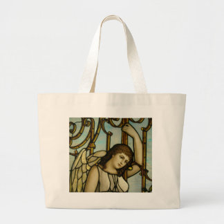 Angel In Stained Glass Large Tote Bag