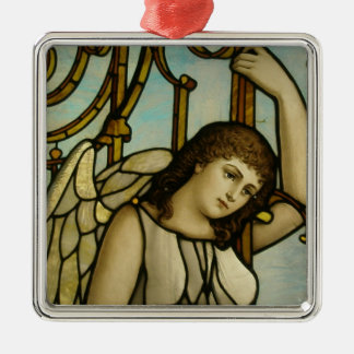 Angel In Stained Glass Silver-Colored Square Ornament