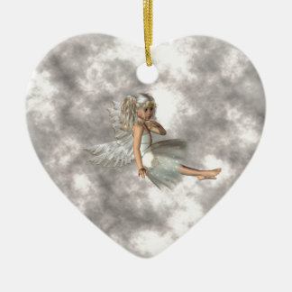 Angel in the Clouds Ceramic Heart Ornament
