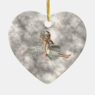 Angel in the Clouds Ceramic Ornament