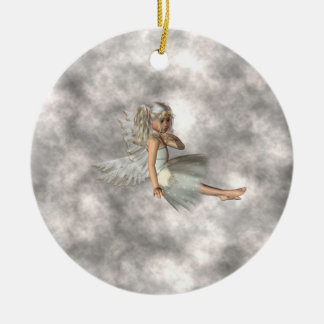 Angel in the Clouds Round Ceramic Ornament