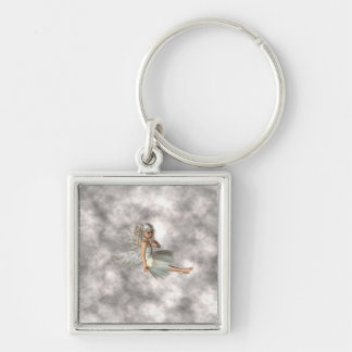 Angel in the Clouds Silver-Colored Square Keychain