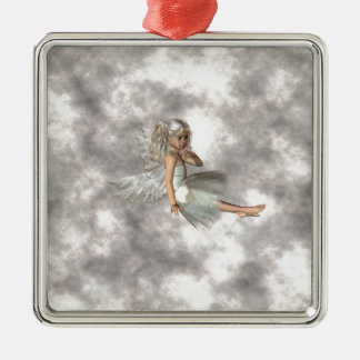 Angel in the Clouds Silver-Colored Square Ornament