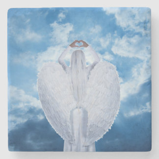 Angel in the clouds stone coaster