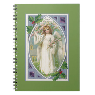 Angel in White With Blue and Green Spiral Notebook