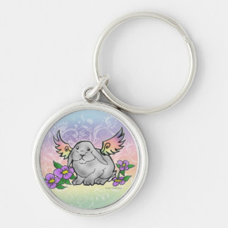 Angel Lop Bunny Silver-Colored Round Keychain