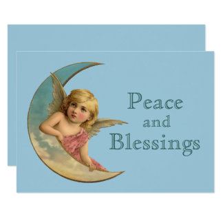 Angel & Moon Vintage Image Holiday Card
