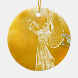Angel Music Round Ceramic Ornament