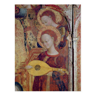 Angel musicians from painting of Virgin and Child Postcard