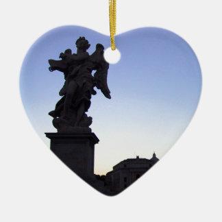 ANGEL NEAR VATICAN, ON PONTE SANT' ANGELO CERAMIC HEART ORNAMENT