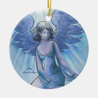 Angel of Grace Round Ceramic Ornament