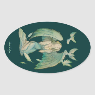 Angel of Peace 2 Oval Sticker