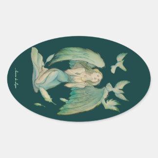 Angel of Peace 2 Oval Sticker