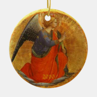 Angel of the Annunciation Custom Dated Round Ceramic Ornament
