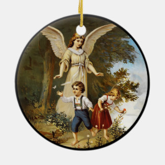 Angel on Cliff with Children Ceramic Ornament
