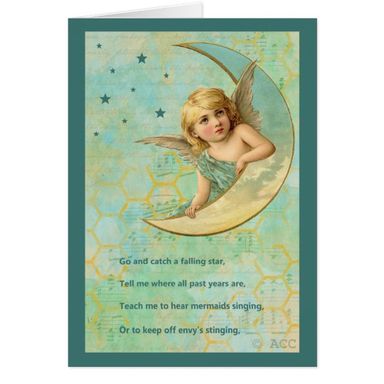 Angel On Crescent Moon Card