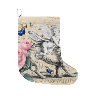 Angel On Lion Pink Rose Large Christmas Stocking