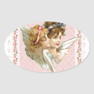 Angel on pink flowered background. oval sticker