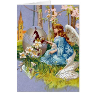 Angel Opening An Easter Egg Card