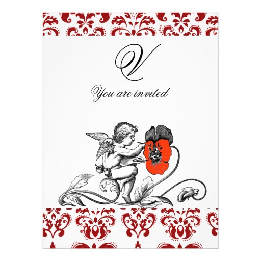 ANGEL PAINTING A RED FLOWER DAMASK MONOGRAM ANNOUNCEMENT