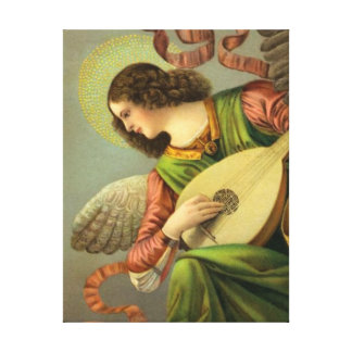 Angel Painting With Mandolin Canvas Print