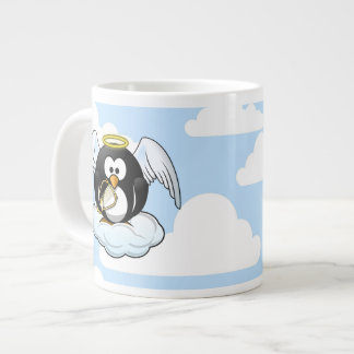 Angel Penguin on a Cloud With Sky Background Large Coffee Mug