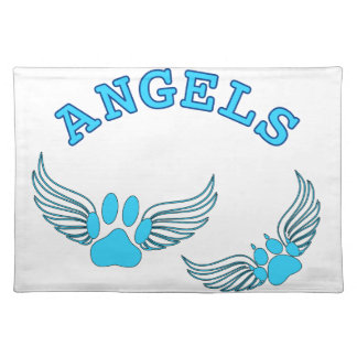 Angel Pet Paws In Blue Placemat
