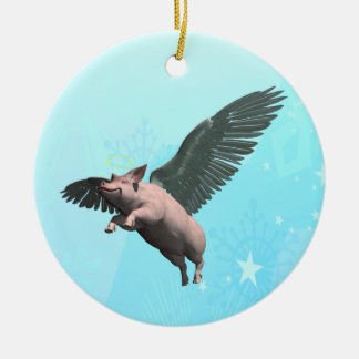 Angel Pig Ceramic Ornament
