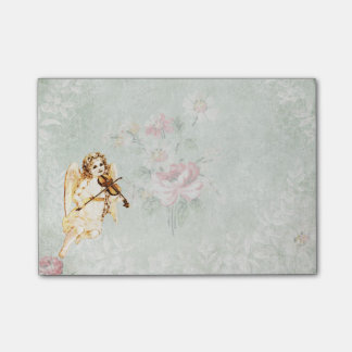 Angel Playing a Violin on Vintage Paper Background Post-it Notes