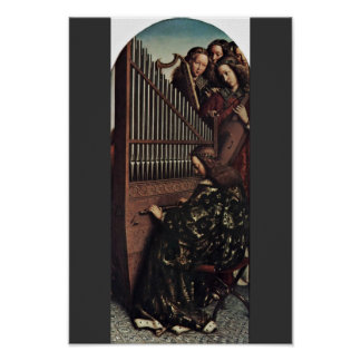 Angel Playing By Hubert Van Eyck (Best Quality) Poster