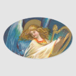 Angel Playing Music On A Harp Oval Stickers