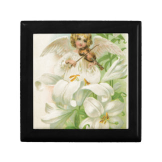 Angel Playing Violin In A Lily Garden Trinket Boxes