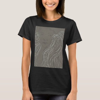 Angel Portrait on Black T-Shirt