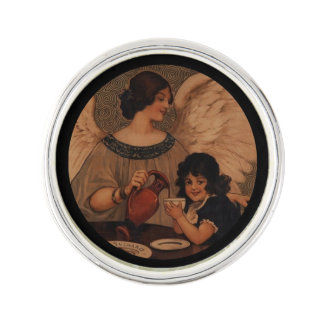 Angel Pouring Hot Chocolate for Child Lapel Pin