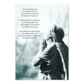 "angel prayer memorial services 3.5"" x 5"" invitation card"