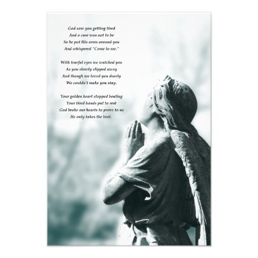 angel prayer memorial services personalized invitations