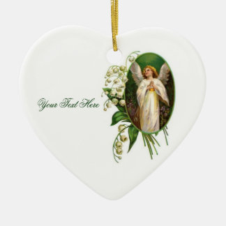 Angel Praying In A Garden Ceramic Heart Ornament